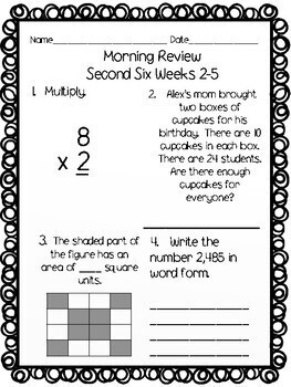 Morning Math Review Warm Ups for Second Six Weeks 3rd Grade CCSS TEKS
