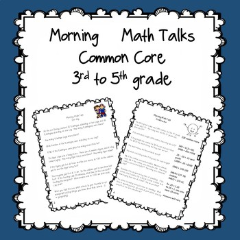 Morning Math Talks 3rd or multi-level groups
