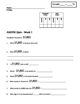 Morning Math Work: AM/PM Quiz Week 1