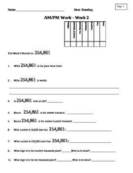 Morning Math Work: AM/PM Week 2