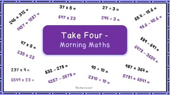 Morning Maths Arithmetic Starter - All Four Operations Fluency Starter  Y5/6