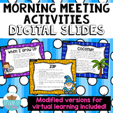 Morning Meeting Activities Digital Slides Distance Learning