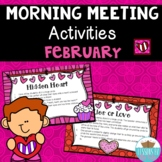 Morning Meeting Activities February *Valentine's Day Edition*