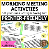 Morning Meeting Activities and Energizers
