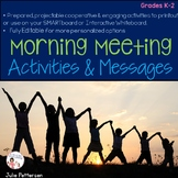 Morning Meeting Activities and Morning Messages Bundle Projectable and Editable