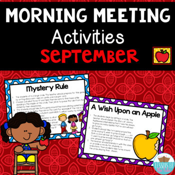 Morning Meeting Activity Cards ~ September Back To School Edition