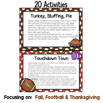 Morning Meeting Activity Cards ~ Thanksgiving Edition