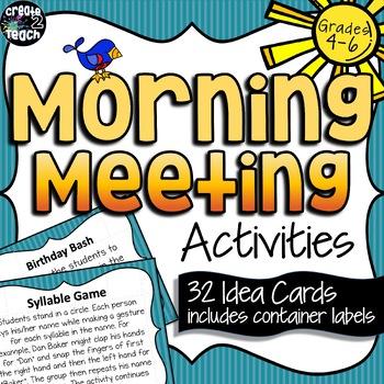 Morning Meeting Activity Idea Cards