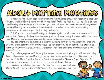 Morning Meeting Activity Idea Cards