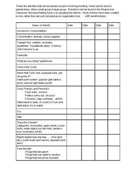 Morning Meeting Activity Idea Chart