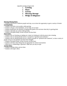 Morning Meeting Agenda and Rules Poster