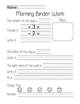 Morning Meeting Binder Work Printables