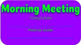 Morning Meeting Board Starter Kit
