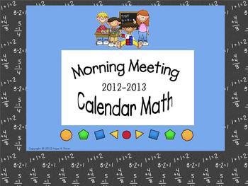Morning Meeting - Calendar Math 2012-2013