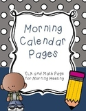 Morning Meeting Calendar Pages