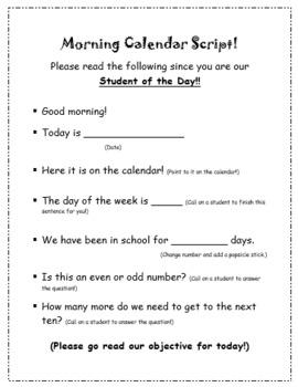 Morning Meeting Calendar Script for Students