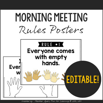 EDITABLE Morning Meeting Rules Posters