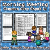 Morning Meeting Common Core Check In Tasks