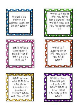 Morning Meeting Conversation Cards