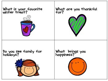 Morning Meeting Conversation Starters- Nov. & Dec. themed