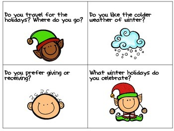 Morning Meeting Conversation Starters- Nov. & Dec. themed