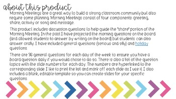 Morning Meeting Discussion & Editable Planning Guide