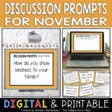 Morning Meeting Discussion Prompts for November {Editable}