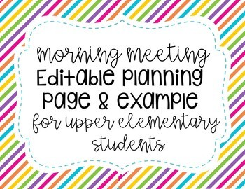 Morning Meeting Editable Planning Form
