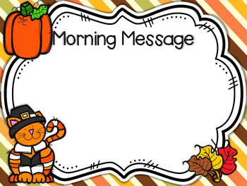 Morning Meeting Editable Templates for November and Thanksgiving