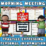 Morning Meeting Work: Expressing personal information (Autism, Aspergers)