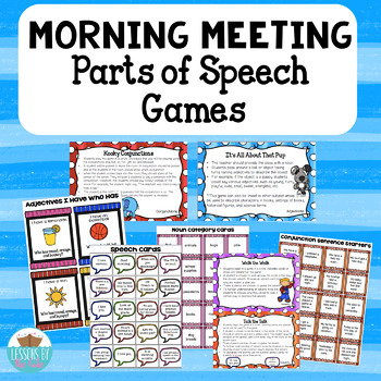 Morning Meeting Game Cards ~ELA Parts of Speech Version~