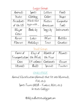 Morning Meeting Games - Categories