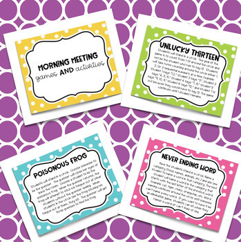 Morning Meeting Games and Activities Cards