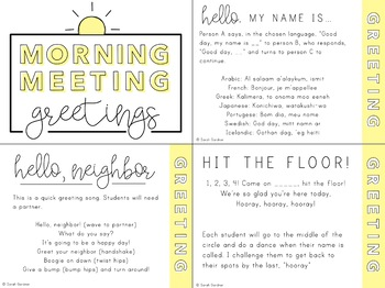 Morning Meeting Greetings & Activities