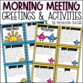Morning Meeting Greetings and Activities | Print and Digit