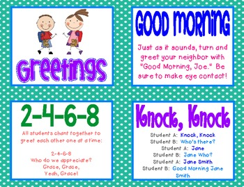 Morning meeting greetings activity cards by fun and fearless in first morning meeting greetings activity cards m4hsunfo