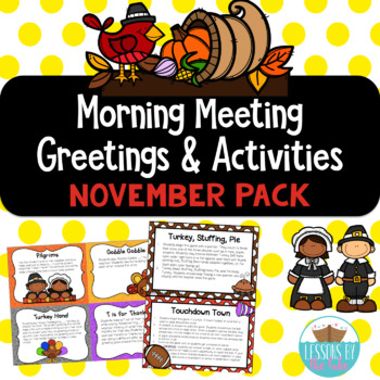 Morning Meeting Greetings & Activities November Pack