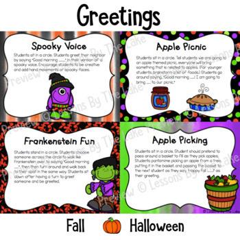Morning Meeting Greetings & Activities October Pack