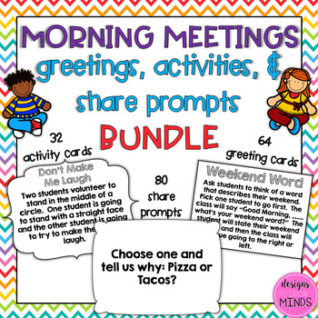 Morning Meeting- Greetings, Activities, and Share Prompts