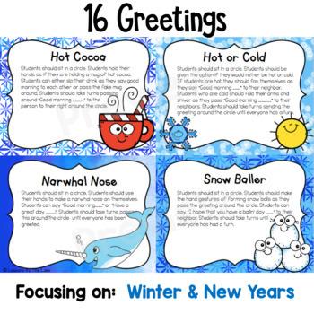 Morning Meeting Greetings Digital Slides- January