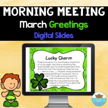 Morning Meeting Greetings Digital Slides- March