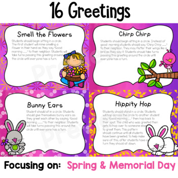 Morning Meeting Greetings Digital Slides- May