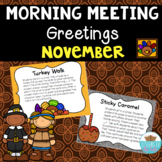 Morning Meeting Greetings  November/ Thanksgiving Distance