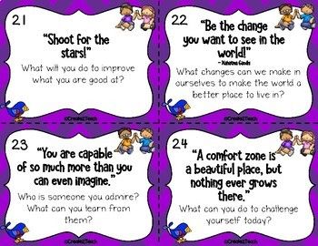 Morning Meeting Growth Mindset Quotes and Discussion Cards