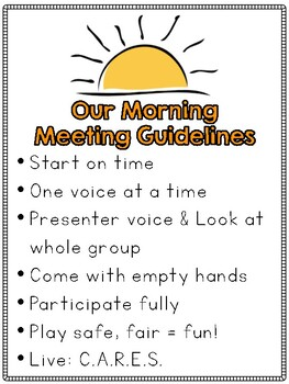 Morning Meeting Guidelines Poster