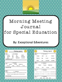 Morning Meeting Journals for Special Education