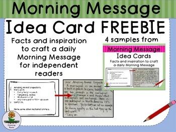 Morning Meeting Message Idea Card FREEBIES