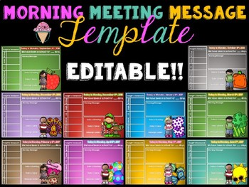 Morning Meeting Message Template - EDITABLE
