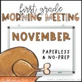 First Grade Morning Meetings - November