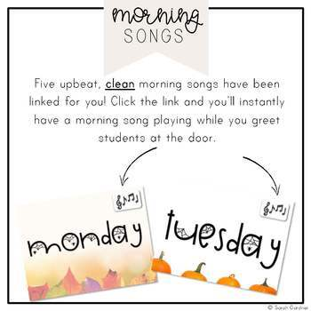 First Grade Morning Meeting Messages - October